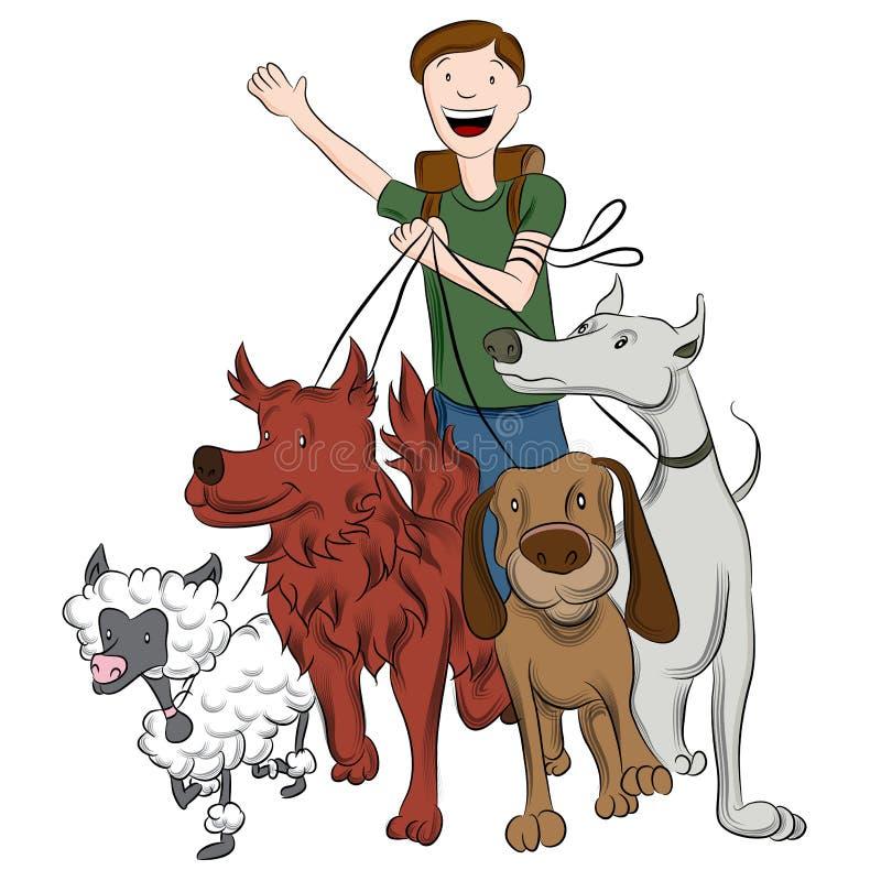 Σκυλιά περπατήματος ατόμων απεικόνιση αποθεμάτων