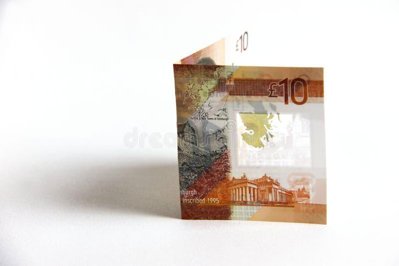 Σκωτσέζικα χρήματα Τραπεζογραμμάτιο δέκα λιβρών στοκ εικόνες