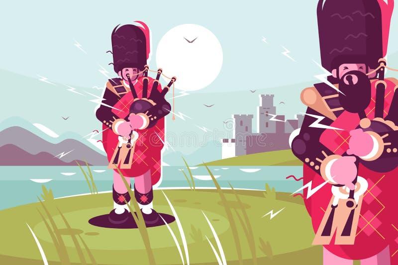 Σκωτσέζικοι bagpipers ατόμων που φορούν το παραδοσιακό φόρεμα ελεύθερη απεικόνιση δικαιώματος