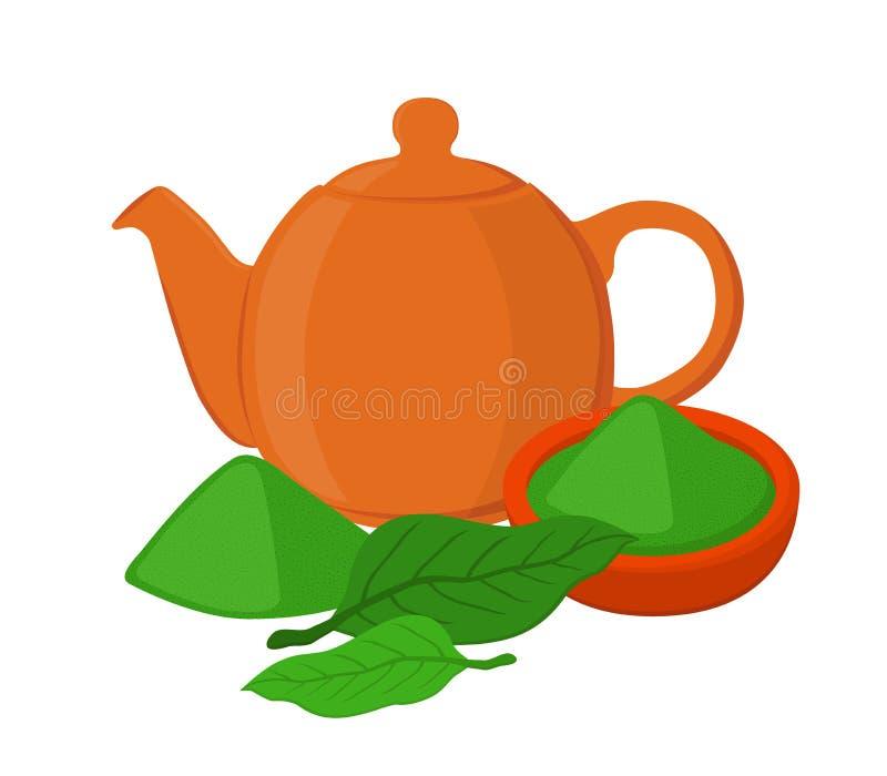 Σκόνη, φύλλα του ασιατικού τσαγιού, teapot, teakettle Επίπεδο ύφος κινούμενων σχεδίων απεικόνιση αποθεμάτων