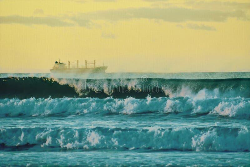 Σκόπιμα μουτζουρωμένη εικόνα υποβάθρου - επίδραση ελαιογραφίας Όμορφο seascape στο ηλιοβασίλεμα και ένα φορτηγό πλοίο μακριά στοκ φωτογραφίες με δικαίωμα ελεύθερης χρήσης