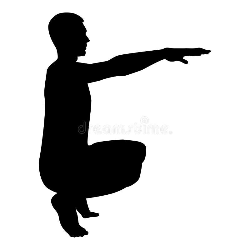 Σκύβοντας άτομο που κάνει ασκήσεων crouches την κοντόχοντρη έγχρωμη εικονογράφηση εικονιδίων πλάγιας όψης σκιαγραφιών Workout αθλ απεικόνιση αποθεμάτων