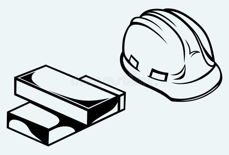 Σκληρά καπέλο και τούβλα διανυσματική απεικόνιση