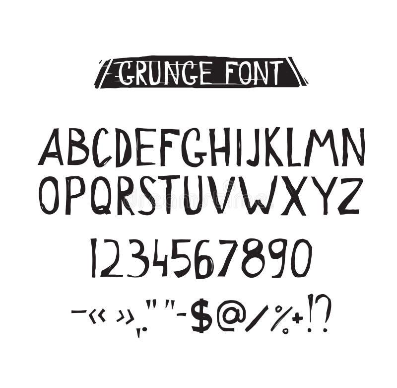Σκληρή απλή πηγή Grunge Καθολικό αλφάβητο απεικόνιση αποθεμάτων