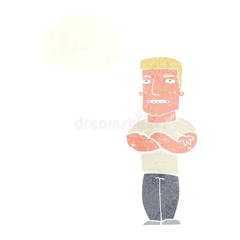 σκληρός άνδρας κινούμενων σχεδίων με τα διπλωμένα όπλα με τη σκεπτόμενη φυσαλίδα απεικόνιση αποθεμάτων