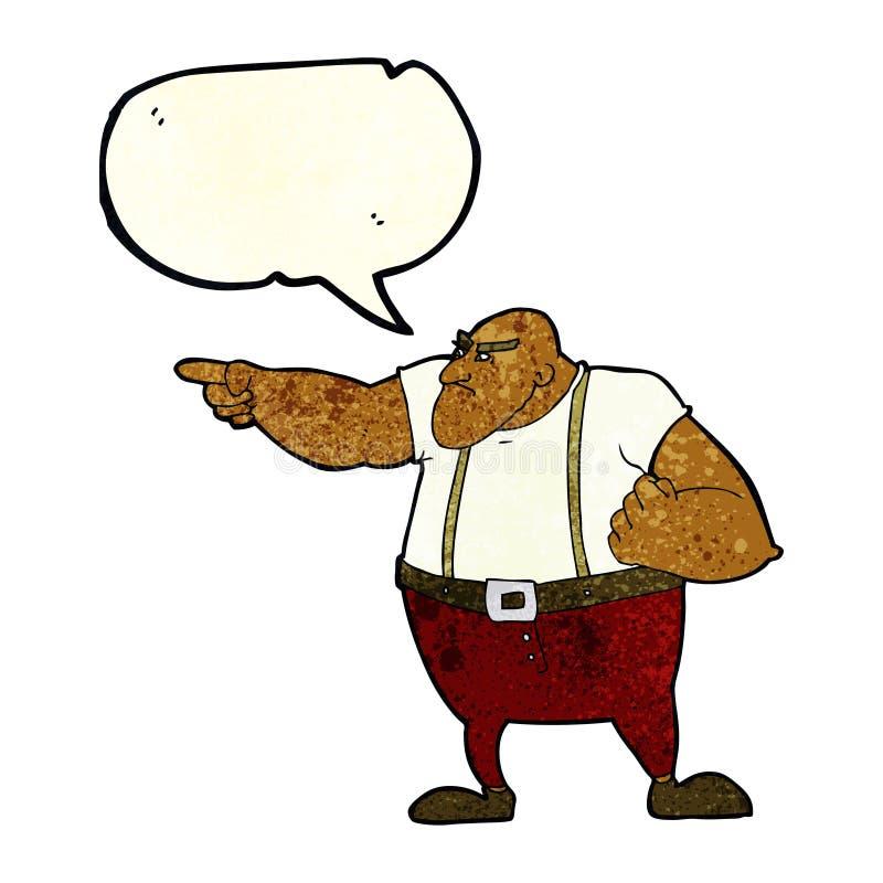 0 σκληρός άνδρας κινούμενων σχεδίων που δείχνει με τη λεκτική φυσαλίδα ελεύθερη απεικόνιση δικαιώματος