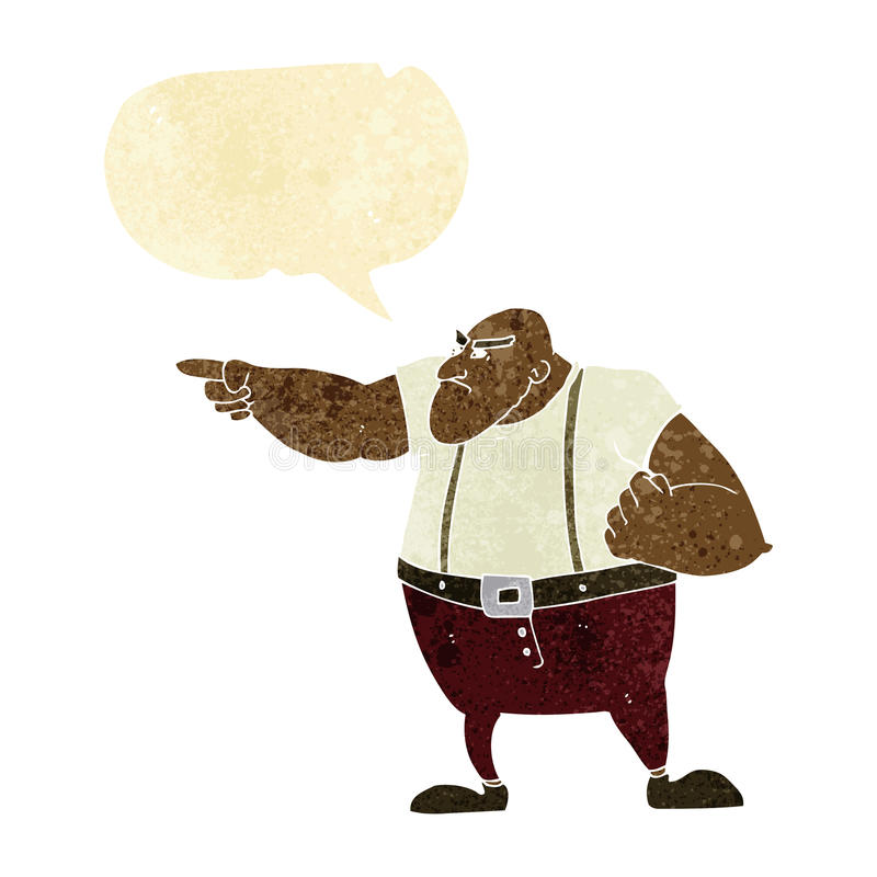 0 σκληρός άνδρας κινούμενων σχεδίων που δείχνει με τη λεκτική φυσαλίδα διανυσματική απεικόνιση