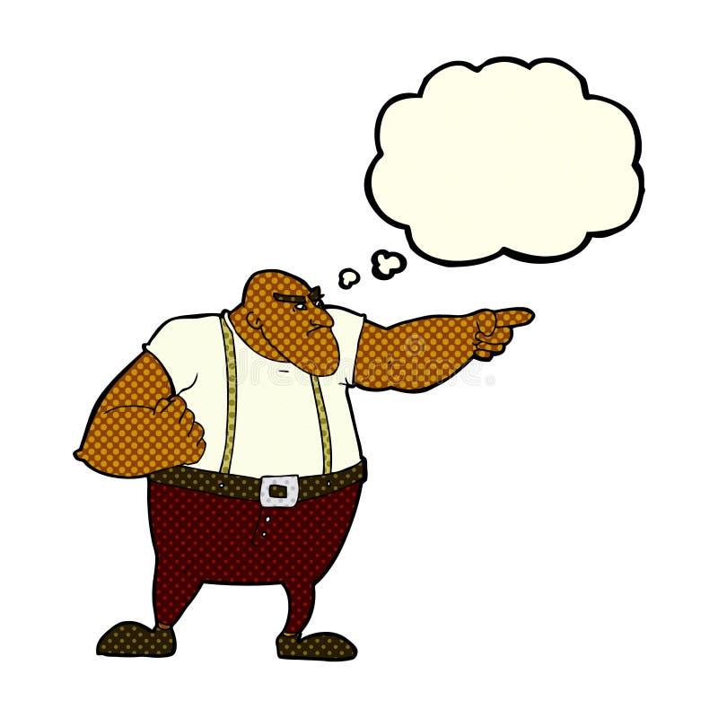 0 σκληρός άνδρας κινούμενων σχεδίων που δείχνει με τη σκεπτόμενη φυσαλίδα απεικόνιση αποθεμάτων