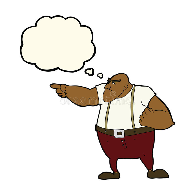 0 σκληρός άνδρας κινούμενων σχεδίων που δείχνει με τη σκεπτόμενη φυσαλίδα διανυσματική απεικόνιση