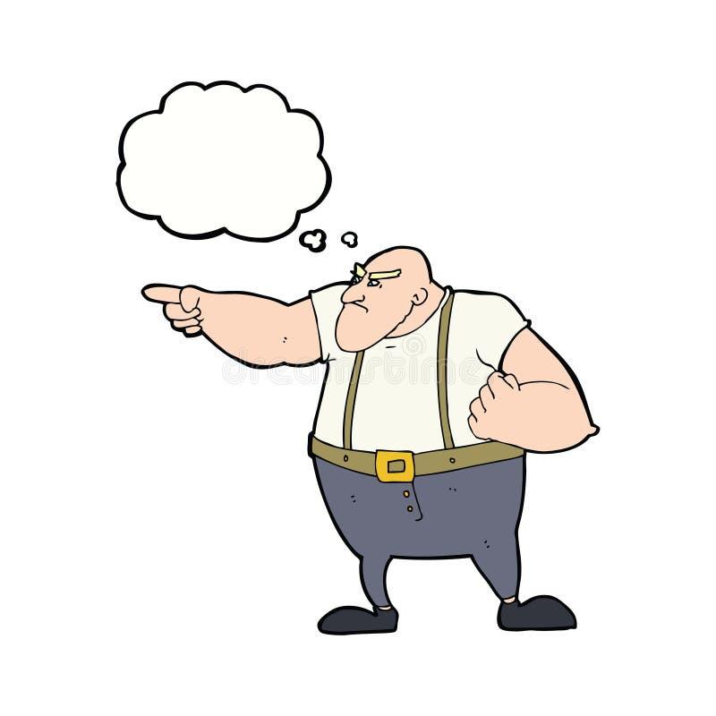 0 σκληρός άνδρας κινούμενων σχεδίων που δείχνει με τη σκεπτόμενη φυσαλίδα ελεύθερη απεικόνιση δικαιώματος