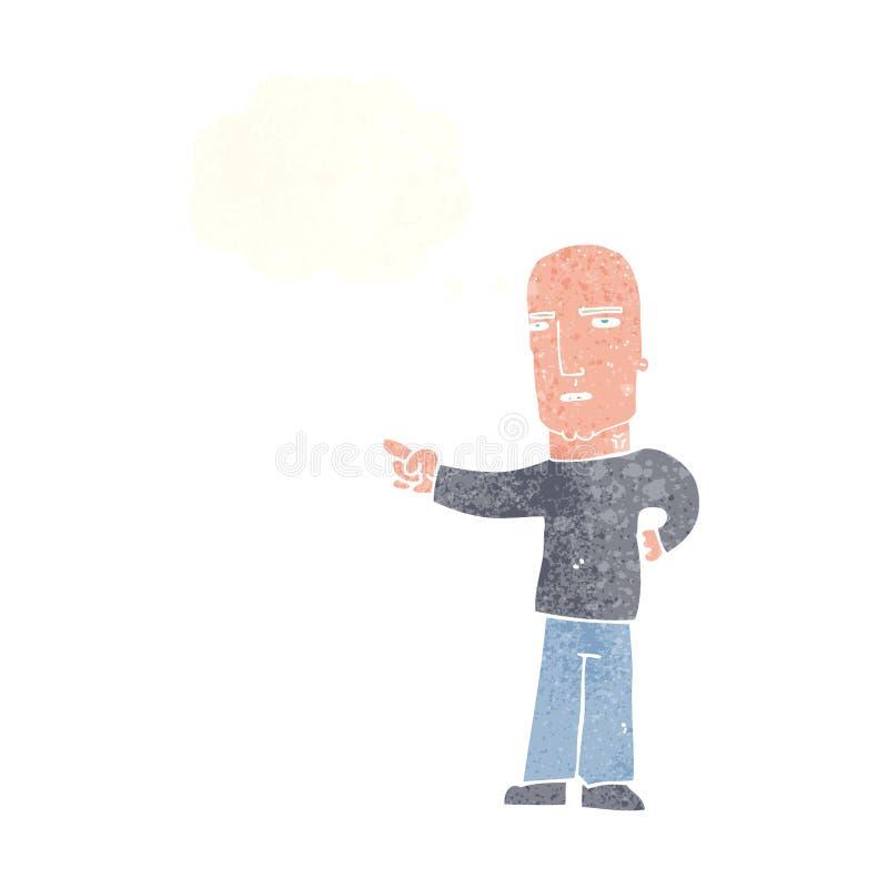σκληρός άνδρας κινούμενων σχεδίων που δείχνει με τη σκεπτόμενη φυσαλίδα ελεύθερη απεικόνιση δικαιώματος
