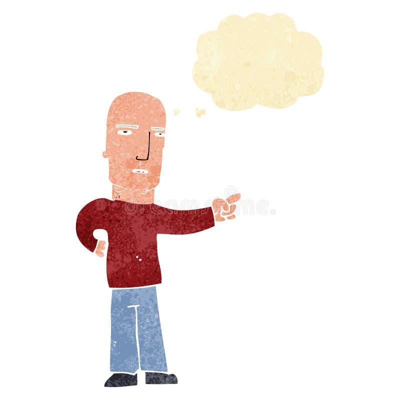 σκληρός άνδρας κινούμενων σχεδίων που δείχνει με τη σκεπτόμενη φυσαλίδα απεικόνιση αποθεμάτων