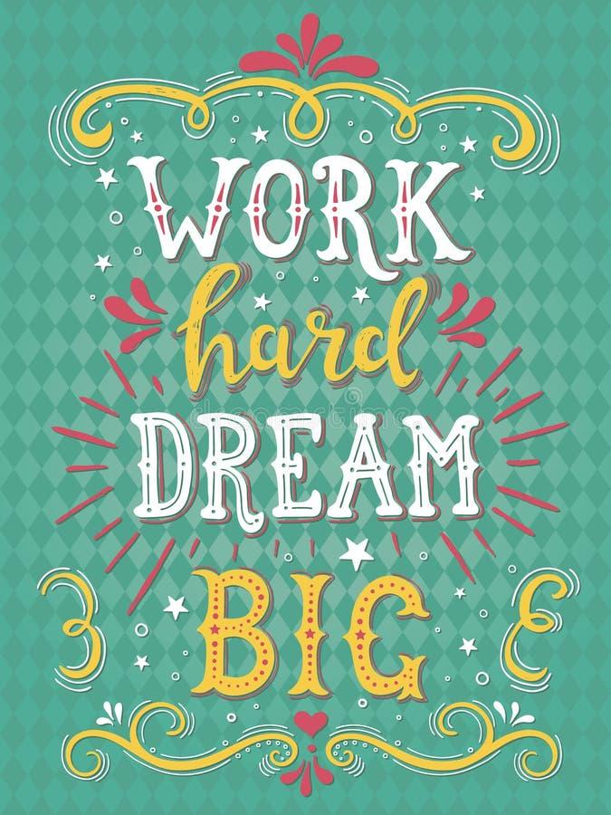 Σκληρό όνειρο εργασίας μεγάλο Διανυσματική συρμένη χέρι απεικόνιση διανυσματική απεικόνιση