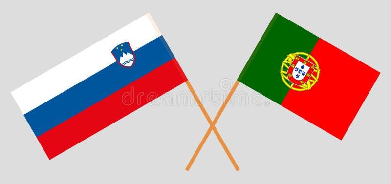 Σλοβενία και Πορτογαλία Οι σλοβένικες και πορτογαλικές σημαίες r o r διανυσματική απεικόνιση