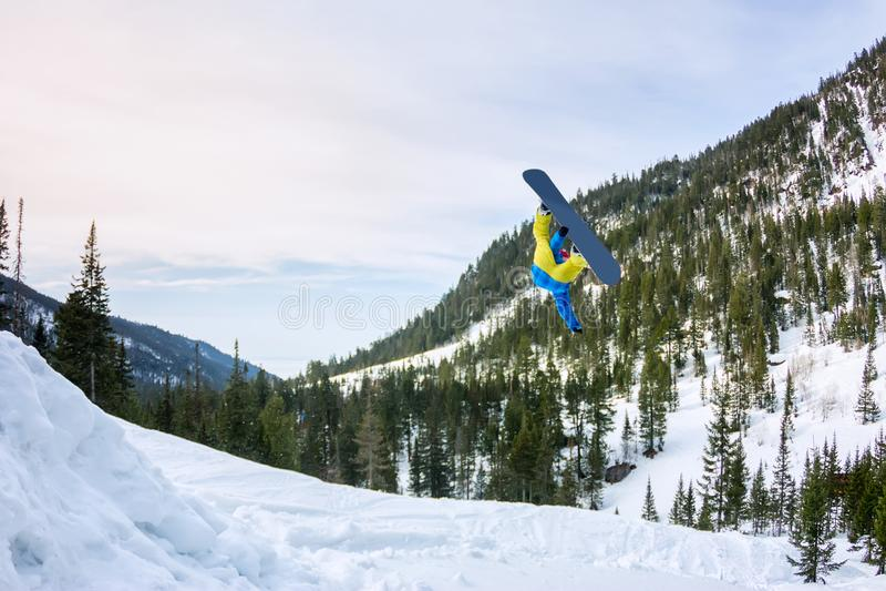 Σνόουμπορντερ πιο ελεύθερος πηδώντας από μια χιονοστιβάδα στον ήλιο σε ένα φόντο δάσους και βουνών στοκ φωτογραφίες