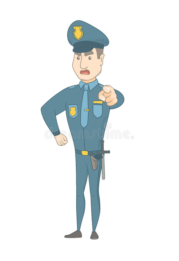 Σοβαρός καυκάσιος αστυνομικός που δείχνει σε σας διανυσματική απεικόνιση