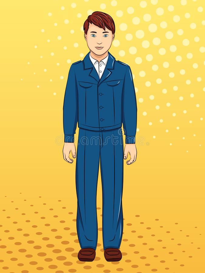 Σοβιετικό αγόρι, μαθητής στη σχολική στολή, ενδύματα Λαϊκό υπόβαθρο τέχνης Μίμηση του ύφους comics Ράστερ διανυσματική απεικόνιση