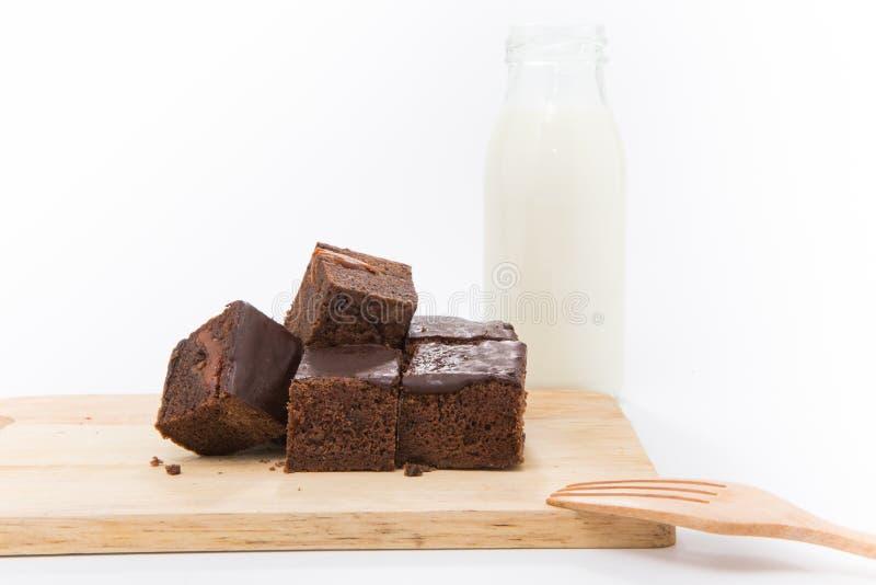 Σοκολάτα κέικ brownies και γάλα στοκ φωτογραφία με δικαίωμα ελεύθερης χρήσης