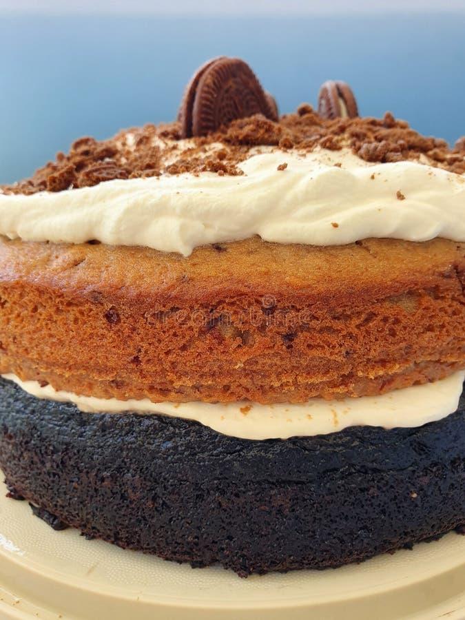Σοκολάτα και καπουτσίνο με κρέμα στοκ εικόνα