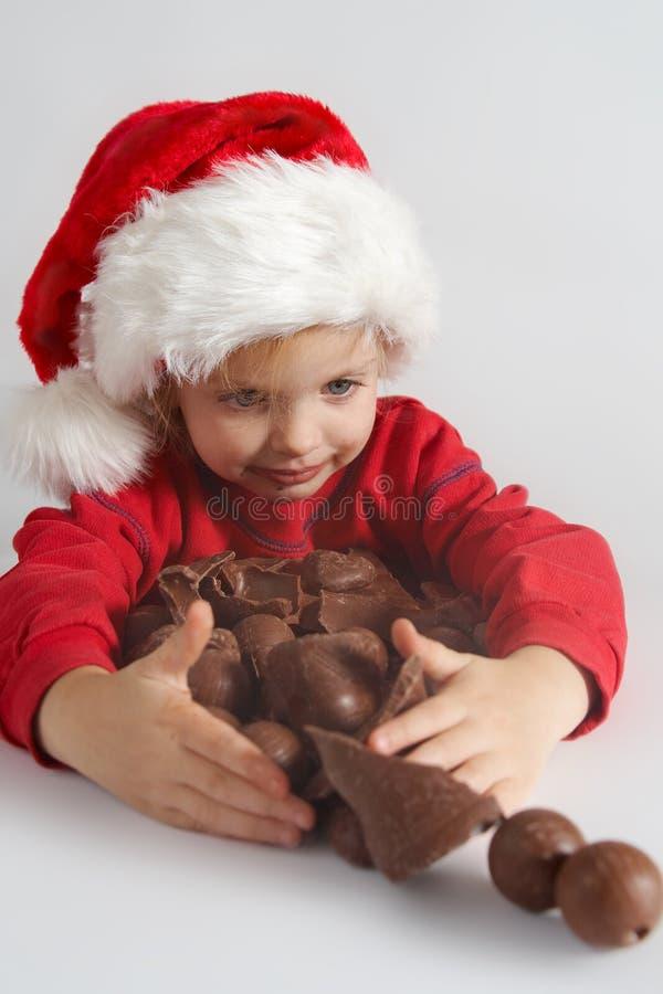 σοκολάτα λίγο santa στοκ εικόνες