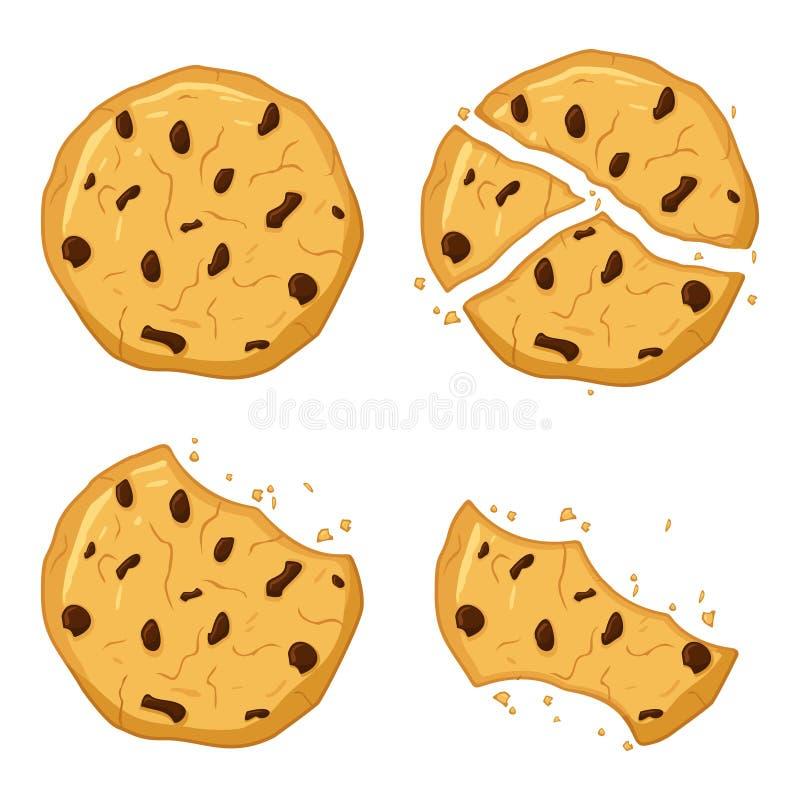 Σοκολάτα μπισκότα απομονωμένα σε λευκό φόντο Πικάντικο, σπασμένο, ψίχουλα Εικονίδιο 'Γλυκά μπισκότα' Μπισκότο διανυσματική απεικόνιση