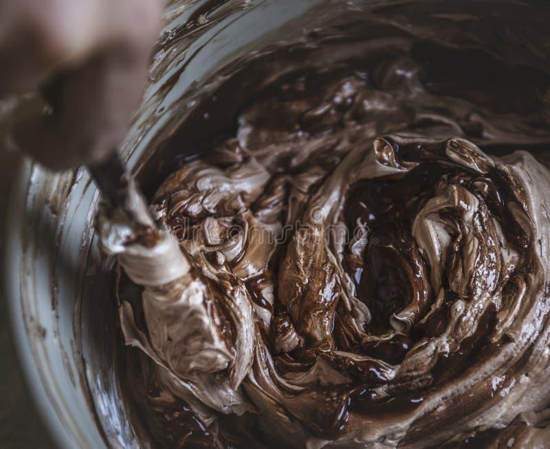 Σοκολάτα που παγώνει την ιδέα συνταγής φωτογραφίας τροφίμων στοκ εικόνες