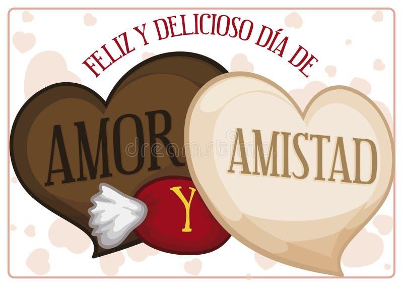 Σοκολάτες και καραμέλα για μια γλυκές αγάπη και μια ημέρα φιλίας, διανυσματική απεικόνιση απεικόνιση αποθεμάτων