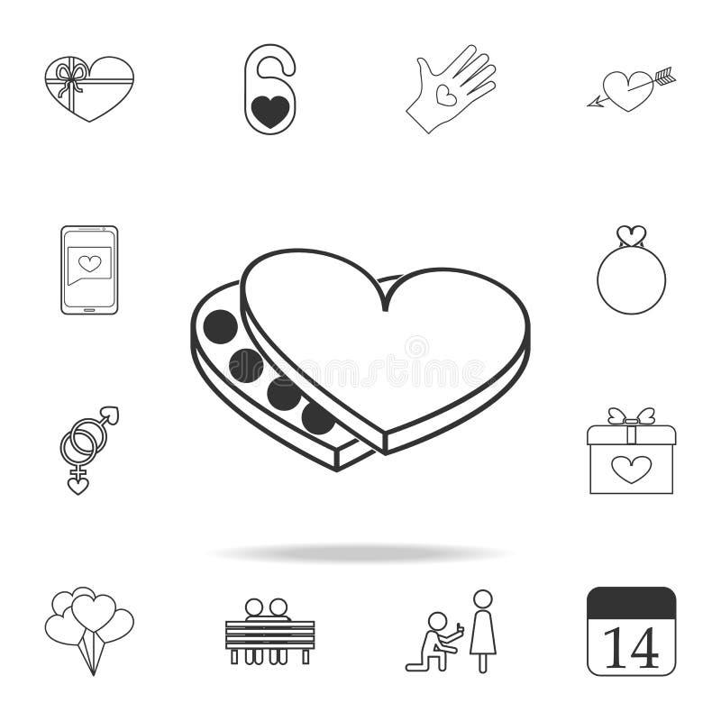 Σοκολάτες στο εικονίδιο καρδιών Σύνολο εικονιδίων στοιχείων αγάπης Γραφικό σχέδιο εξαιρετικής ποιότητας Σημάδια, εικονίδιο FO συλ ελεύθερη απεικόνιση δικαιώματος