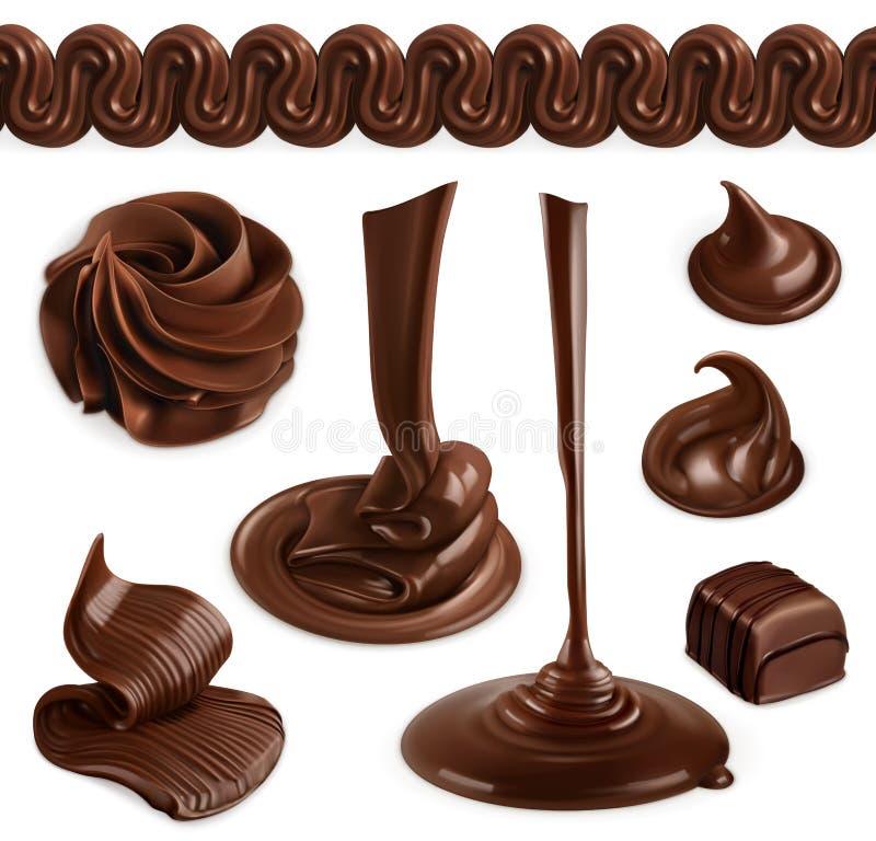Σοκολάτα, βούτυρο κακάου και κτυπημένη κρέμα ελεύθερη απεικόνιση δικαιώματος