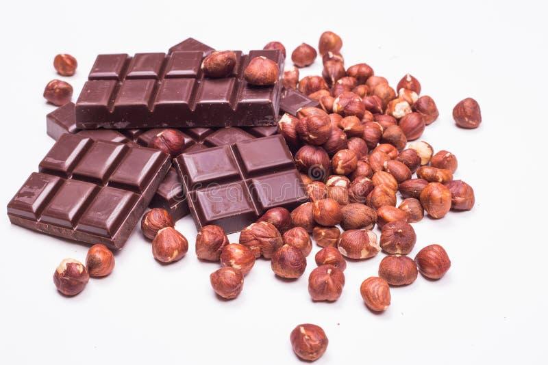 Σοκολάτα και φουντούκια στοκ εικόνες