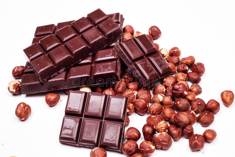 Σοκολάτα και φουντούκια στοκ φωτογραφίες