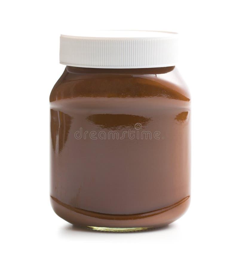 Σοκολάτα που διαδίδεται στο βάζο στοκ εικόνες