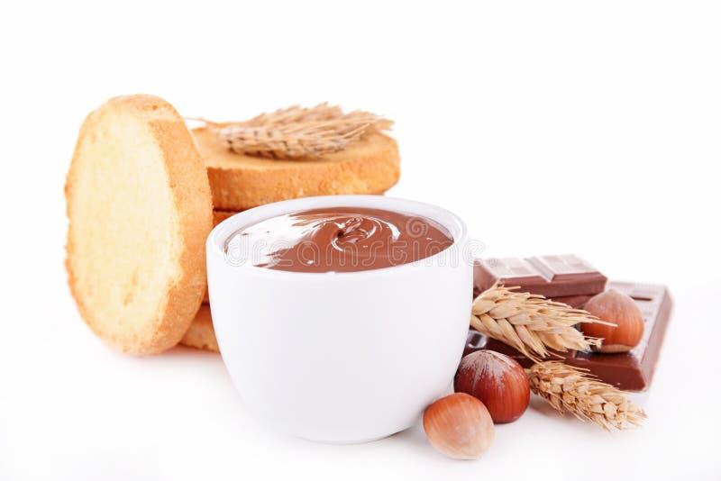 Σοκολάτα που διαδίδονται και ψωμί στοκ εικόνα με δικαίωμα ελεύθερης χρήσης