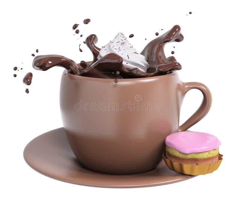 Σοκολάτα φλυτζανιών με την κτυπημένα κρέμα και το κέικ, τρισδιάστατη απόδοση απεικόνιση αποθεμάτων