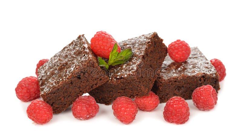 Σοκολάτα brownies με τα σμέουρα στοκ φωτογραφία με δικαίωμα ελεύθερης χρήσης