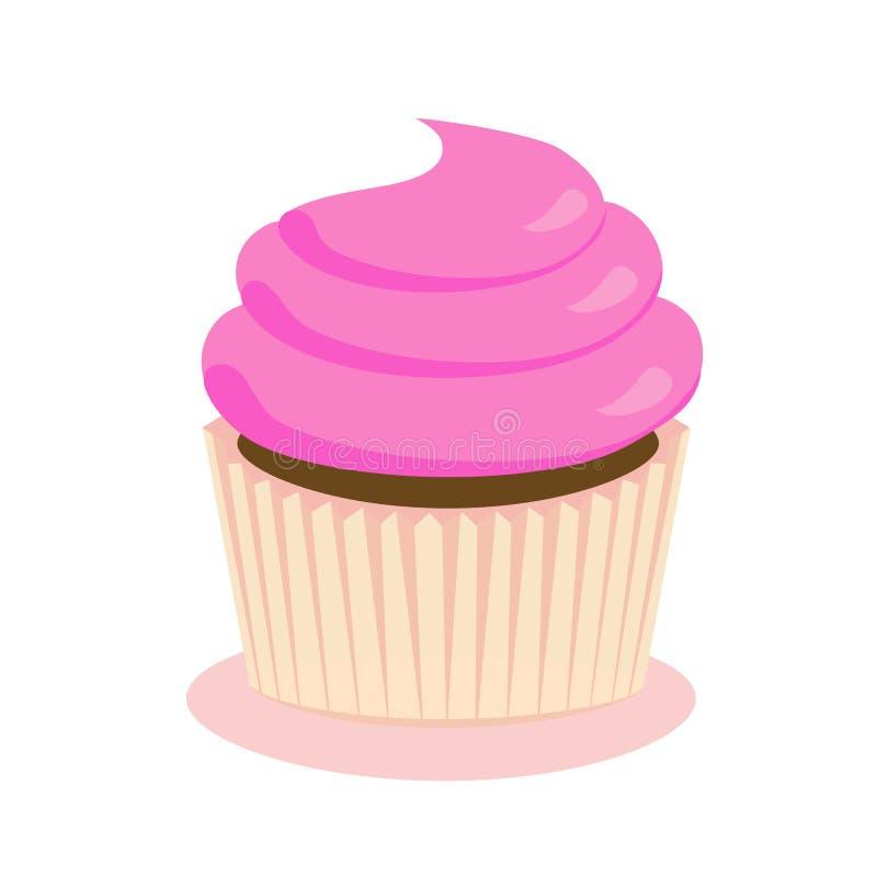 Σοκολάτα cupcake με το ροζ που παγώνει, επίπεδο εικονίδιο ελεύθερη απεικόνιση δικαιώματος