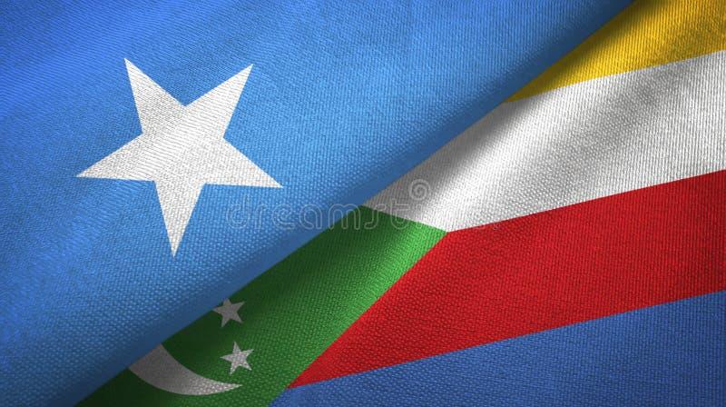 Σομαλία και Κομόρες δύο υφαντικό ύφασμα σημαιών, σύσταση υφάσματος απεικόνιση αποθεμάτων