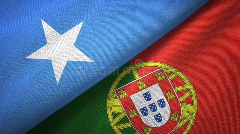 Σομαλία και Πορτογαλία δύο υφαντικό ύφασμα σημαιών, σύσταση υφάσματος απεικόνιση αποθεμάτων