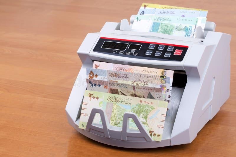 Σουδανέζικες λίβρες σε μια μετρώντας μηχανή στοκ φωτογραφία με δικαίωμα ελεύθερης χρήσης