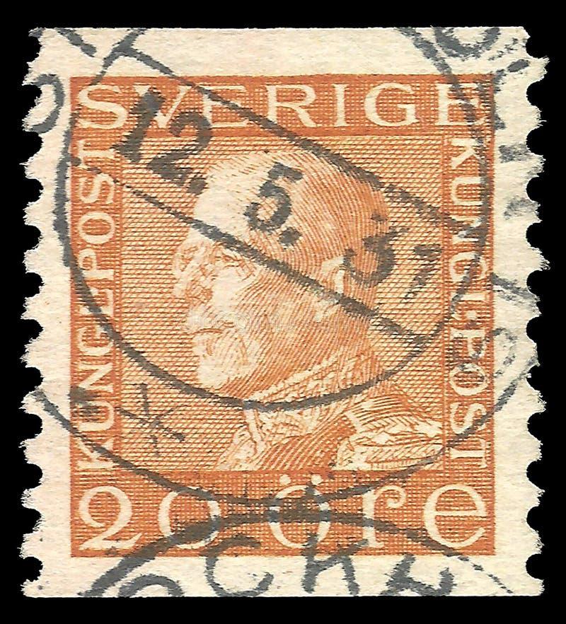 Σουηδία - γραμματόσημο 1925: Η έκδοση χρώματος στους αρχηγούς κράτους, παρουσιάζει στο βασιλιά Gustav το πέμπτο διανυσματική απεικόνιση