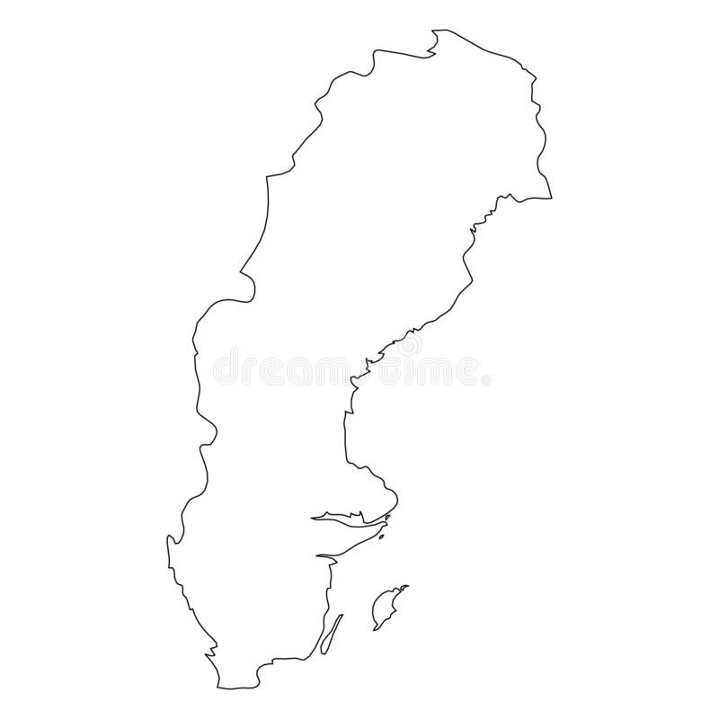 Σουηδία - στερεός μαύρος χάρτης συνόρων περιλήψεων της περιοχής χωρών Απλή επίπεδη διανυσματική απεικόνιση απεικόνιση αποθεμάτων