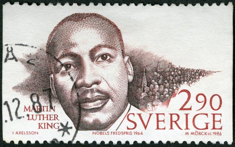 ΣΟΥΗΔΙΑ - CIRCA 1986: παρουσιάζει Martin Luther King Jr 1929-1968, δαφνοστεφές βραβείων ειρήνης Νόμπελ στοκ φωτογραφία με δικαίωμα ελεύθερης χρήσης