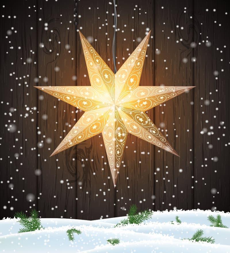 Σουηδικό αστέρι Χριστουγέννων, εποχιακή λάμποντας διακόσμηση παραθύρων διανυσματική απεικόνιση