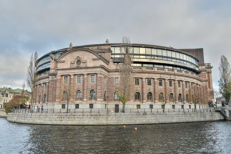 Σουηδικό σπίτι Riksdagshuset του Κοινοβουλίου στη Στοκχόλμη στοκ φωτογραφία
