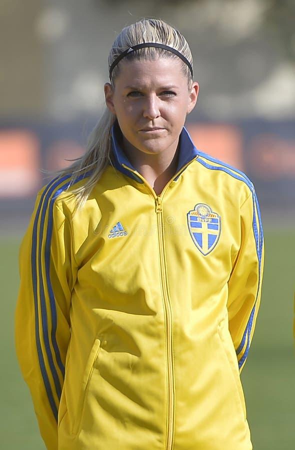 Σουηδικός θηλυκός ποδοσφαιριστής - Ολίβια Schough στοκ εικόνες