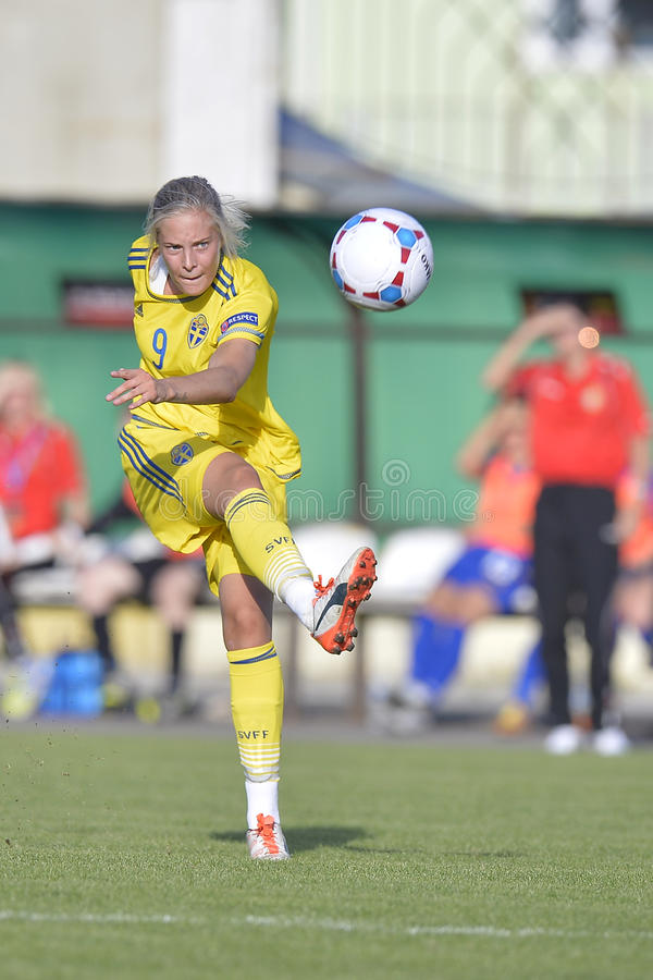 Σουηδικός θηλυκός ποδοσφαιριστής - Lina Hurtig στοκ φωτογραφίες με δικαίωμα ελεύθερης χρήσης