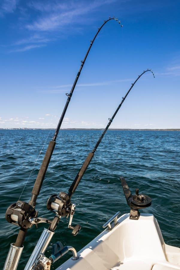 Σουηδικό τοπίο αλιείας σολομών στοκ εικόνες