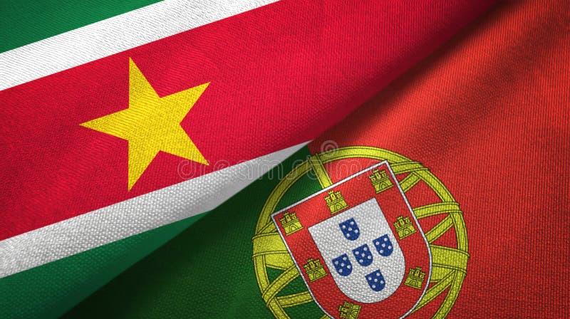 Σουρινάμ και Πορτογαλία δύο υφαντικό ύφασμα σημαιών, σύσταση υφάσματος ελεύθερη απεικόνιση δικαιώματος