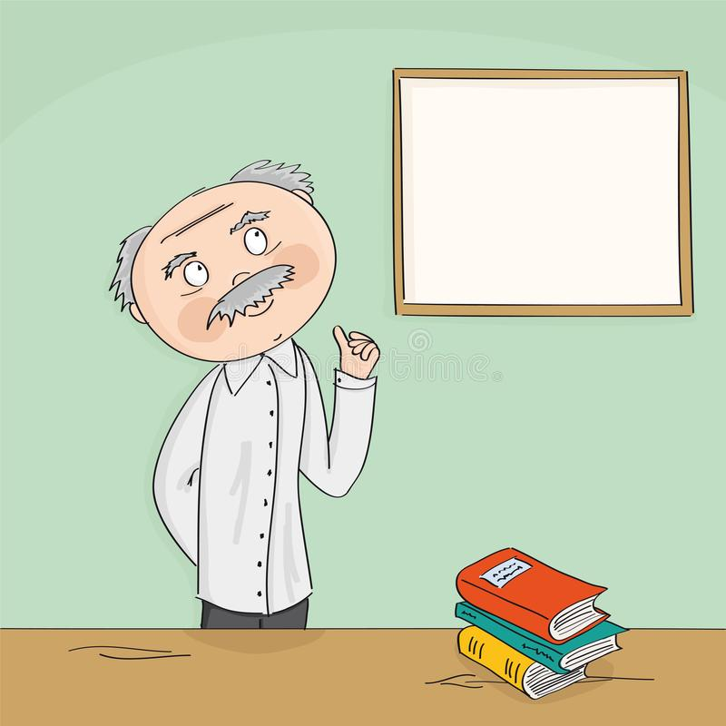 Σοφή παλαιά ακαδημαϊκή διδασκαλία καθηγητή μπροστά από το λευκό πίνακα διανυσματική απεικόνιση