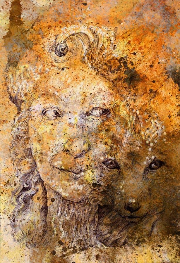 Σοφή shamanic δασική θεά γυναικών με την αλεπού, κατασκευασμένο υπόβαθρο στοκ εικόνες
